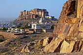 Jaswant Thada Memorial and Meherangarh fort in Jodhpur. Rajasthan. India