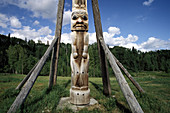 Totem at Kitwanga. Oldest totems in the world. British Columbia. Canada