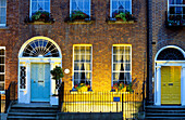 Illuminated residential house at Merrion Street Upper in the evening, Dublin, Ireland, Europe