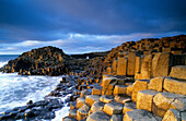 Giant's Causeway, Basalt Columns at the coastline under clouded sky, County Antrim, Ireland, Europe, The Giant's Causeway, World Heritage Site, Northern Ireland