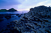 Giant's Causeway, Basalt Columns at the coastline in the evening, County Antrim, Ireland, Europe, The Giant's Causeway, World Heritage Site, Northern Ireland