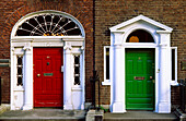 Painted front doors on Merrion Square, Dublin, Ireland, Europe