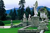 Cultivated formal garden with statues, Powerscourt Garden, Enniskerry, Wicklow Mountains, Ireland, Europe