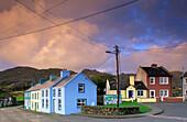 Colourful houses under clouded sky, Allihies, Beara peninsula, County Cork, Ireland, Europe