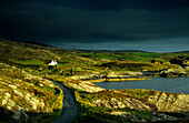 Coast area at the Ring of Beara under thunder clouds, County Cork, Ireland, Europe