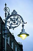 Street lamp on Merrion Square at dusk, Dublin, Ireland, Europe