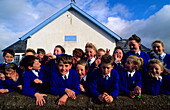 School children in Lough in Luir, near Derrybeg, County Donegal, Ireland, Europe