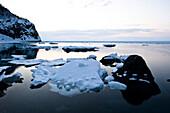 Ice floes on the pacific ocean, Hokkaido, Japan, Asia