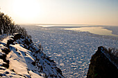Pacific Ocean, coast, sea, sunset, snow, winter, rocks, trees, Hokkaido, Japan, Asia