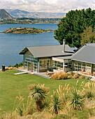 Buildings of the luxury Whare Kea Lodge at Lake Wanaka, Wanaka, Central Otago, South Island, New Zealand