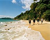 Wanderer am Waiharakeke Beach im Sonnenlicht, Abel Tasman Nationalpark, Nordküste, Südinsel, Neuseeland