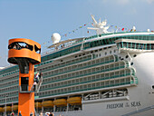 Freedom of the Seas anchors at the cruise centre, Hanseatic City of Hamburg, Germany