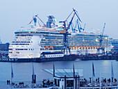 Cruise Ship Freedom of the Seas in the shipyard, Hanseatic City of Hamburg, Germany