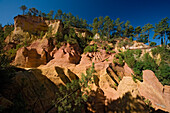 Ochre quarry in the sunlight, Roussillon, Vaucluse, Provence, France