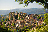 View at the village Saignon in the Luberon mountains, Mt. Ventoux at horizon, Vaucluse, Provence, France