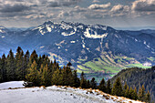 View from the Lenggrieser Lodge to Bavarian Alps, Germany, Mangfall Mountains, Bavaria