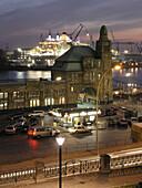 St. Pauli Landing Bridges and Queen Mary 2 in dockyard, Hamburg, Germany