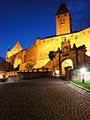 The illuminated Coburg fortress at night, Coburg, Franconia, Bavaria, Germany