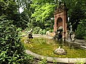 Duke Alfred Fountain in the Court Garden, Coburg, Franconia, Bavaria, Germany