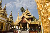 Prayer hall in the Shwedagon Pagoda at Yangon, Rangoon, Myanmar, Burma