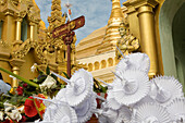 Oblations in the Shwedagon Pagoda at Yangon, Rangoon, Myanmar, Burma