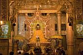 Buddha statue at the prayer hall at the Botataung Pagoda, Yangon, Rangoon, Myanmar, Burma