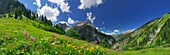 Panoramic view of Lechtal range, Allgaeu range in background, Tyrol, Austria