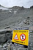 keep out sign, danger to life, due to rock slide, glacier melt due to climate change, global warming, ascent to notch Pitztaler Joechl, Oetztal range, Tyrol, Austria