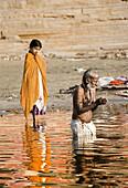 Ablutions in the Ganges, Varanasi. Uttar Pradesh, India