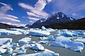 Glacial blue ice of Grey Glacier, Torres del Paine National Park. Chile