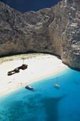 Shipwreck (Navagio) Beach. Aerial View of Beach with Shipwreck. Zakynthos. Ionian Islands. Greece