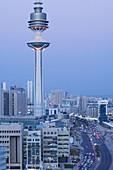 KUWAIT-Kuwait City: High Angle View of Liberation Tower and Hilalli Street / Evening