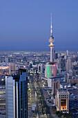 KUWAIT-Kuwait City: Aerial over Hilalli Street towards Liberation Tower / Dawn