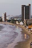 MEXICO-Sinaloa State-Mazatlan: Zona Dorada / Golden Hotel Zone- Playa Las Gaviotas Beach and Hotels / Dusk