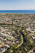 River Torrens, Adelaide, South Australia, Australia - aerial