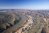 ABC Range left, Heysen Range and Wilpena Pound, Flinders Ranges, South Australia, Australia - aerial