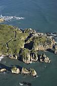 Pancake Rocks, Punakaiki, Paparoa National Park, West Coast, South Island, New Zealand - aerial
