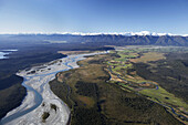 Whataroa River and Southern Alps, West Coast, South Island, New Zealand - aerial