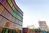 Art Museum, multicolored glass panels in the MUSAC facade, Museo de Arte Contemporáneo de Castilla y León, MUSAC, Leon, Castile and Leon, Spain