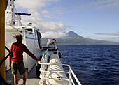 View from ferry boat, Pico Volcano, Pico Island, Azores, Portugal
