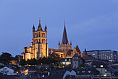Cathedrale Notre Dame at night, Lausanne, Canton of Vaud, Switzerland