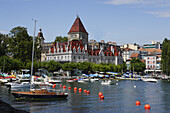 View over lake Geneva to Chateau d'Ouchy, Lausanne, Canton of Vaud, Switzerland