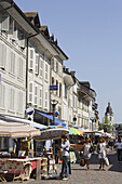 Market in Old Town, Morges, Canton of Vaud, Switzerland