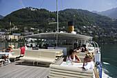 Passengers on excursion boat, Montreux, Canton of Vaud, Switzerland