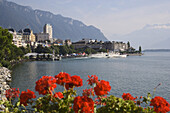 Pleasure boat on lake Geneva, Montreux, Canton of Vaud, Switzerland