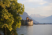 Chillon Castle at Lake Geneva, Dents Du Midi, Veytaux, Vaud, Switzerland