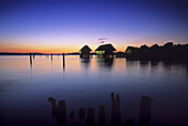 Lake dwellings in the afterglow, Lake Constance, Baden Wurttemberg, Germany