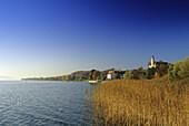 Blick vom Seeufer zur Wallfahrtskirche Kloster Birnau unter blauem Himmel, Bodensee, Baden-Württemberg, Deutschland
