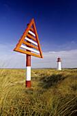 Landmark and lighhouse at Westenellenbogen, Sylt island, North Friesland, North Sea, Schleswig-Holstein, Germany