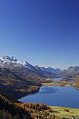 View over lake Silvaplana and lake Sils with Piz da la Margna, Upper Engadin, Engadin, Grisons, Switzerland